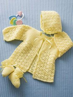 This sweet layette set includes a hat, jacket and booties. All are made using light-weight #3 yarn. Instructions are written to fit infant's size 3-6 months. Skill Level: Intermediate http://www.maggiescrochet.com/products/lemon-drop-layette