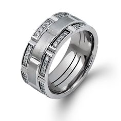 Men's Collection - This impressive 14K white mens band is comprised of .70ctw round white Diamonds.   - LP2181