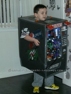 Cool Homemade Cardboard Box Vending Machine Costume... This website is the Pinterest of costumes