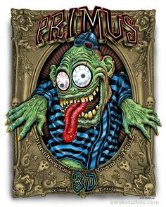 Emek Finkus Primus 3D Deluxe Orlando Signed GID Poster print art gig concert.  To purchase this piece or any other limited edition art prints, visit us @ Printdrop.com