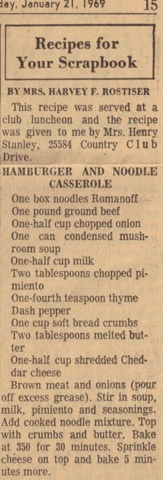 Vintage Recipe Clipping For Hamburger & Noodle Casserole