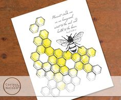 Bee and Honeycomb Proverbs Christian Art  8x10 by CorissaNelsonArt, $5.00