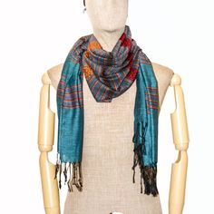Thai Silk & Cotton Scarf Woven Stripe Scarves Shawl Wrap Summer Arab Long Blue  #Handmade #Scarf