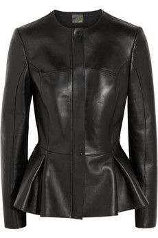 Cutest idea ever!! Peplum leather jacket by Fendi!! fall is making me salivate