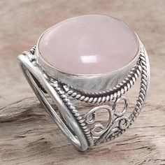 Rose quartz cocktail ring, 'Pink Moon' - Hand Crafted Sterling Silver Ring from Indonesia