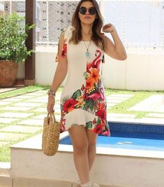 Street Chiffon Floral Print A Line Dress Casual Wear, Casual Outfits, Vetement Fashion, Summer Outfits, Summer Dresses, Dress Patterns, African Fashion, Ideias Fashion, Short Dresses