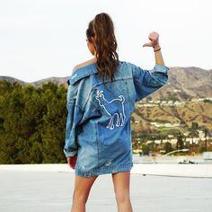 Erika Costell Goat Oversized Denim Jacket (£48) via Polyvore featuring outerwear, jackets, distressed denim jacket, distressed jacket, blue jean jacket, cotton jacket and denim jacket