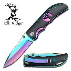 Elk Ridge Tactical Folding Knife  Black Rainbow Spectrum.  www.ceknives.com