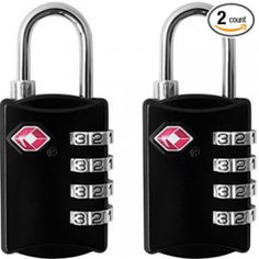 TSA Luggage Locks Pack) - 4 Digit Combination Steel Padlocks - Approved Travel Lock for Suitcases and Baggage - Black -- Check this awesome product by going to the link at the image. (This is an affiliate link)