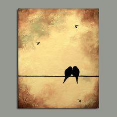 ORIGINAL Contemporary Birds Bees Painting Idea for wedding anniversary 20 x 16. $90.00, via Etsy.