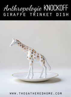 Anthropologie Knockoff Giraffe Trinket Dish – Great gift idea! #diy