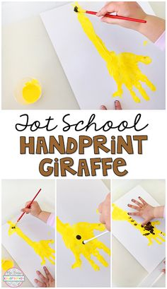 This hand print giraffe is perfect for a zoo theme in tot school, preschool, or the kindergarten classroom.
