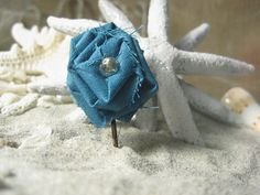 Deep Turquoise Blue Rolled Fabric Flower Bobby by NurtureOurNature, $3.00