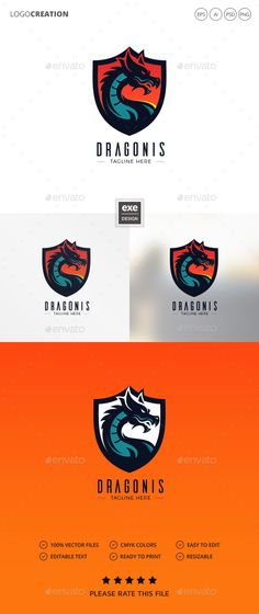 Dragon Logo — Photoshop PSD #dragonboat #fast • Available here → https://graphicriver.net/item/dragon-logo/20802557?ref=pxcr