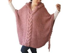 Tweed Pink Plus Size Cable Knit Poncho with Hoodie  by por afra, $115.00