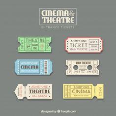 チケットテンプレートセット 無料ベクター | Free Vector #Freepik #freevector #vintage #label #music #icon Ticket Template Free, Templates Printable Free, Movie Tickets, Real Movies, Iconic Movies, Game Design, Icon Design, Web Design