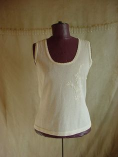Willi Smith Sleeveless Top Sweater sz Large Ivory Knit Embroidered Semi Sheer