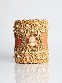 Peaches & Cream Cuff Leather Wrist Purse Peach Wristlet by CuffNGo