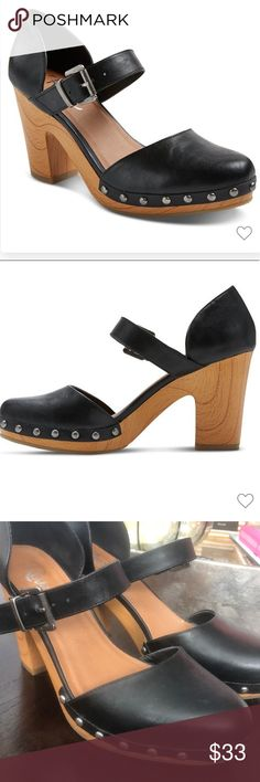 REVEL Faux Wood Mary Jane Studded Heel EUC - product description in photos Revel Shoes Heels