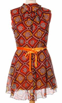 Vintage 1970s mod chiffon mini dress.