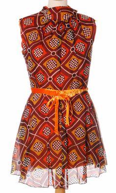 Vintage 1970s mod chiffon mini dress.