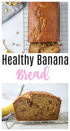 Healthy Banana Bread Recipe - made with greek yogurt honey and whole wheat flour! Savory Bread Recipe, Healthy Bread Recipes, Banana Bread Recipes, Best Dessert Recipes, Sweet Recipes, Real Food Recipes, Healthy Desserts, Cake Recipes, Make Banana Bread