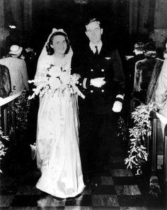 Newlyweds future President, Navy Lt. George HW Bush & Barbara Pierce at their wedding in Rye, New York-8Jan1945.