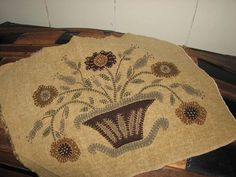 An antique basket rug I designed and stitched years ago..at   The Diary of a Rugmaker
