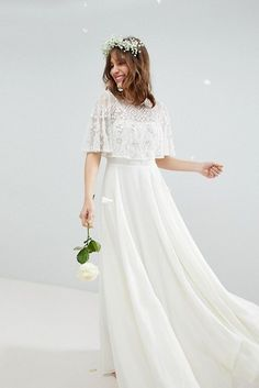 Shop ASOS EDITION Maxi Wedding Dress with Embellished Crop Top. With a variety of delivery, payment and return options available, shopping with ASOS is easy and secure. Shop with ASOS today. Worst Wedding Dress, Wedding Crop Top, Asos Wedding Dress, Wedding Dresses Under 500, Wedding Dress Shopping, Wedding Bridesmaid Dresses, Bridal Dresses, Wedding Gowns, Denim Wedding