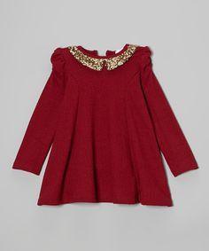 Another great find on #zulily! Burgundy & Gold Sequin Dress - Toddler & Girls #zulilyfinds