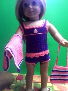 "PINK and PURPLE SWIMSUIT with towel and beach bag for most 18"" dolls including American Girl Dolls. by DollFashionsbyJanet on Etsy"