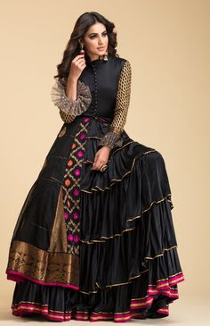 Black Banarsi Anarkali with quilt details on bodice and gota details on sleeves and frills. Indian Gowns, Indian Attire, Indian Outfits, Indian Wear, Indian Designer Outfits, Designer Gowns, Kurta Designs, Blouse Designs, Dress Designs