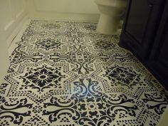 Lisboa Tile Stencil on flooring by Debi Maerz | Stencil by Royal Design Studio