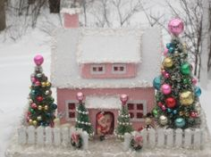 Vintage style Putz House in PINK- Santa/ snowman/ 4 Trees