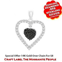 "1/2 Ct Brilliant Cut Black & White Genuine Diamond 14K Gold Double Heart Shape Pendant Without Chain ""Mother\'s Day Gift"". Starting at $158"