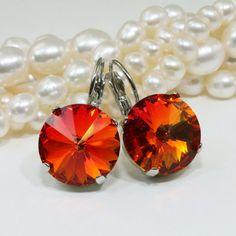 Orange Earrings Fire Opal Crystal Earrings Orange by TIMATIBO