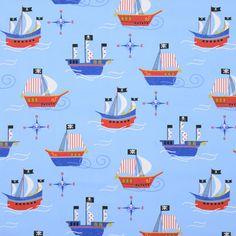 Pirate Ships Curtain Fabric