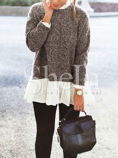 Pullover Langarm mit Kontrastfarben - braun und weiß- German SheIn(Sheinside) Mobile Seite