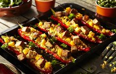 peppers stuffed with caramelised #tofu, #quinoa, smoky #chipotle and squash