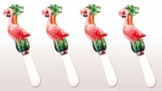 Porcelain Flamingo Cheese Spreader . $18.00. Handpaint Glazed Porcelain. 4 pieces a set/$12.00. Flamingo Collection: This collection features a variety of kitchenware (plates, margarita glasses, etc) with one unique theme of flamingos. You don't have to be a flamingo enthusiast to fall in love with this beautiful set. This collection would be ideal to have at a party! This is one of set -- Cheese Spreader.