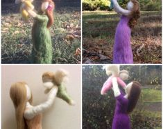 Needle Felted Mother with Angel Made to Order you pick colors Needle Felted Ornaments, Felt Ornaments, Child Loss, Needle Felting, Angel, Etsy, Feelings, Children, Colors