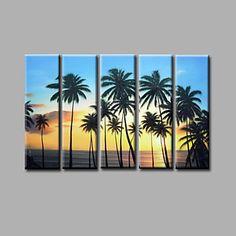 【今だけ☆送料無料】 アートパネル  自然・風景画5枚で1セット 南国 ビーチ 夕日 ヤシの木【納期】お取り寄せ2~3週間前後で発送予定