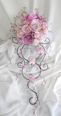 Beautiful Artificial flower and crystal bridal bouquet - how gorgeous!- Very different