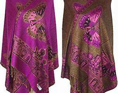 Purple Butterfly Pashmina Silk Pashmina Silk Shawl Purple Shawl Butterfly Shawl…