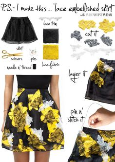 Runway look redone: Erica of P.S. I Made This shows you how to sew your own lace embellished skirt. See this and more of Pinterest's best DIY fashion projects here! #diy #diyfashion #diyskirt