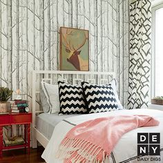 Daily Digs: Modern Woodland #aspen #red #black #white #chevron