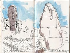 """Urban Sketchers: Face to face with """"Echo"""" at the Olympic Sculpture Park in Seattle Travel Sketchbook, Airplane Photography, Urban Sketchers, Watercolor Sketch, Friend Pictures, Book Design, Olympics, Seattle, Sketches"""
