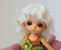 Natural wig for Lati White dolls wig mohair wig bjd