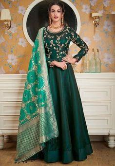2b36da1f3986 Ready made Green Silk Anarkali Suit Banarasi Dupatta SF689EX. Western Gown  DesignDesigner GownsIndian ...