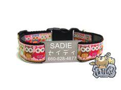 Personalized dog collar  Zakka Pink Owl with custom Japanese